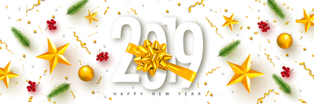 2019 Happy New Year. Universal vector background with Golden bow,fir branches, Rowan, stars and serpentine. Suitable for promotional materials, postcards,posters banners, flyers. Modern design