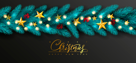 Merry Christmas and Happy New Year.Universal vector background with Golden bow,fir branches, Rowan, stars and garland. Suitable for promotional materials, postcards,posters banners, flyers.