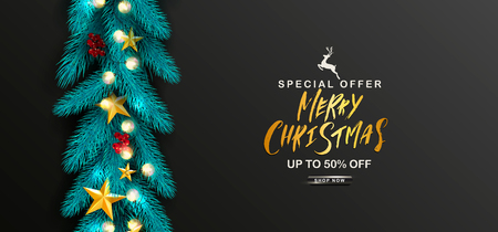 Merry Christmas Sale.Universal vector background with fir branches, Rowan, stars,garland and serpentine. Suitable for promotional materials, postcards,posters banners, flyers. Modern design