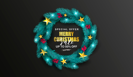 Merry Christmas Sale Poster.Green Christmas wreath with Rowan and golden stars.Suitable for promotional materials, postcards,posters banners, flyers. Modern design. Vector illustration.