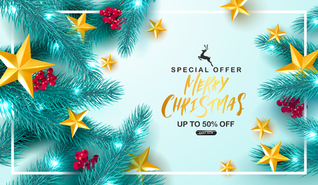 Merry Christmas Sale.Universal vector background with fir branches, Rowan, stars and serpentine. Suitable for promotional materials, postcards,posters banners, flyers. Modern design