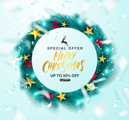 Merry Christmas Sale Poster.Green Christmas wreath with Rowan,golden stars and flying serpentine.Suitable for promotional materials, postcards,posters banners, flyers. Vector illustration.