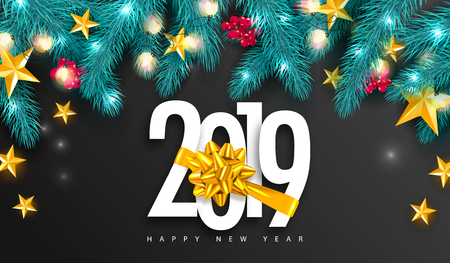 2019 Happy New Year. Universal vector background with Golden bow,fir branches, Rowan, stars and garland. Suitable for promotional materials, postcards,posters banners, flyers. Modern design