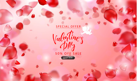 Valentines Day sale background. Top view on composition with flying rose petals. Vector illustration for website , posters, email and newsletter designs, ads, coupons, promotional material