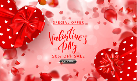 Valentines Day sale background. Top view on composition with gift boxes and flying rose petals. Vector illustration for website , posters, ads, coupons, promotional material Ilustração