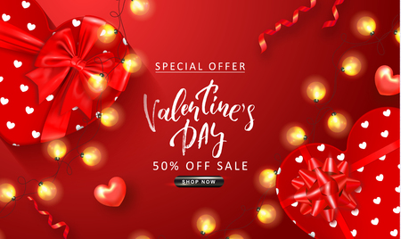 Valentines Day sale background. Top view on composition with gift boxes, hearts, glowing garland and serpentine.Vector illustration for website , posters, ads, coupons, promotional material