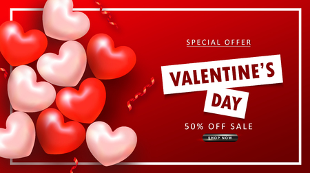 Valentines Day sale background. Top view on composition with hearts and serpentine. Vector illustration for website , posters, email and newsletter designs, ads, coupons, promotional material Ilustração