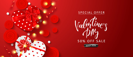 Valentines Day sale background. Top view on composition with gift boxes, roses,serpentine, white beads and glowing garland. Vector illustration for posters, ads, coupons, promotional material.