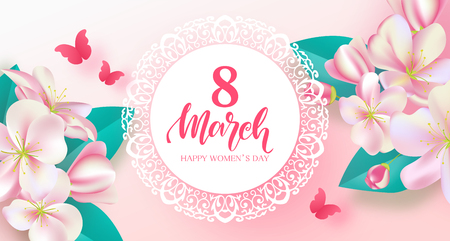 8 March Happy Womens Day banner. Beautiful Background with flowers and,butterfly. Vector illustration for postcards,posters, coupons, promotional material