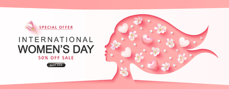 International Womens Day sale background.Paper cutout girl face with flowers, hearts and beads . Vector illustration for website , posters,ads, coupons, promotional material. Banque d'images - 118198540