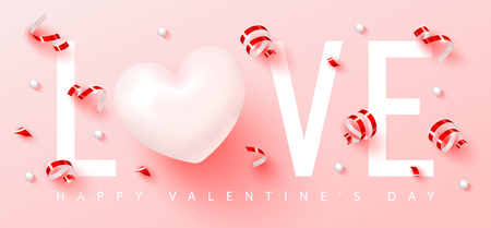 Happy Valentine s Day.Romantic composition with heart,serpentine and beads. Vector illustration for website , posters,ads, coupons, promotional material.