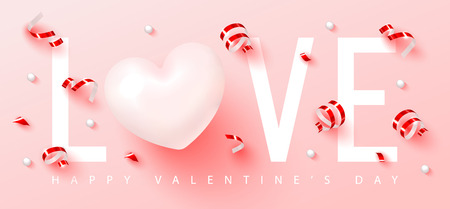 Happy Valentine s Day.Romantic composition with heart,serpentine and beads. Vector illustration for website , posters,ads, coupons, promotional material Illusztráció