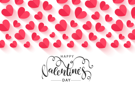 Happy Valentine's Day Festive Card. Beautiful Background with paper hearts. Vector Illustration