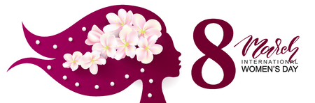 8 March Happy Women's Day banner. Beautiful Background with female silhouette ,flowers and beads.Vector illustration for website,cards, posters,ads, coupons, promotional material.