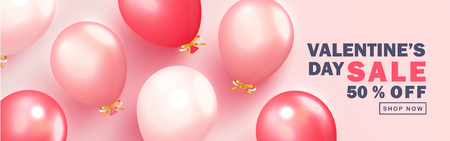 Valentine s Day sale background.Romantic composition with balloons. Vector illustration for website , posters,ads, coupons, promotional material