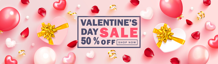 Valentine s Day sale background.Romantic composition with gift boxes,hearts, balloons,rose petals,beads and serpentine. Vector illustration for website , posters,ads, coupons, promotional material Illusztráció