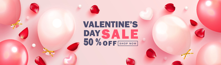 Valentine s Day sale background.Romantic composition with hearts, balloons,rose petals and beads. Vector illustration for website , posters,ads, coupons, promotional material