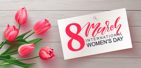 8 March Happy Women's Day banner.Beautiful realistic tulips on wooden background.Vector illustration for postcards,posters, coupons, promotional material 矢量图像