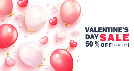 Valentine s Day sale background.Romantic composition with hearts, balloons,serpentine and beads. Vector illustration for website , posters,ads, coupons, promotional material