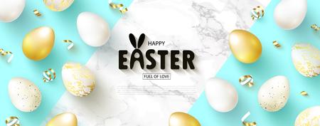 Feliz búsqueda de huevos de Pascua. Hermoso banner con huevos dorados y blancos y serpentina sobre fondo de mármol. Ilustración de vector de sitio web, carteles, anuncios, cupones, material promocional.