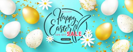 Happy Easter Sale banner.Beautiful Background with Golden and white eggs,chamomiles and serpentine. Vector illustration for website , posters,ads, coupons, promotional material Illustration