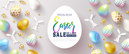 Happy Easter Sale banner.Beautiful Background with colorful eggs, paper bunnies and golden serpentine. Vector illustration for website , posters,ads, coupons, promotional material Stockfoto - 118198571