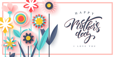 Happy Mother's day greeting card. Paper cut flowers, holiday background. Vector illustration
