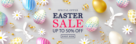 Happy Easter Sale banner.Beautiful Background with colorful eggs, paper bunnies,chamomile and golden serpentine. Vector illustration for website , posters,ads, coupons, promotional material.