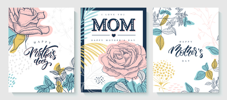 Set of greeting cards Happy Mothers day. Beautiful hand-drawn roses, plants and lettering. Vector illustration. Vecteurs