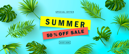 Summer Sale banner.Beautiful Background with realistic tropical leaves. Vector illustration for website , posters,ads, coupons, promotional material
