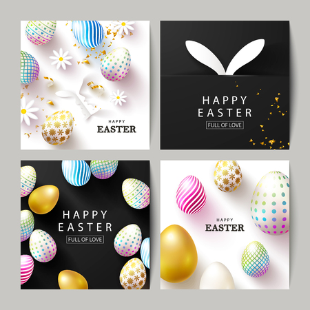 Happy Easter Set of cards.Beautiful Background with colorful eggs, paper bunnies,chamomiles and serpentine. Vector illustration for cards,website , posters,ads, coupons, promotional material