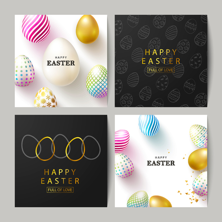 Happy Easter Set of cards.Beautiful Background with colorful eggs and golden confetti. Vector illustration for cards,website , posters,ads, coupons, promotional material