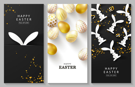 Happy Easter Set of vertical cards.Beautiful Background with golden eggs, paper bunnies and serpentine. Vector illustration for cards,website , posters,ads, coupons, promotional material