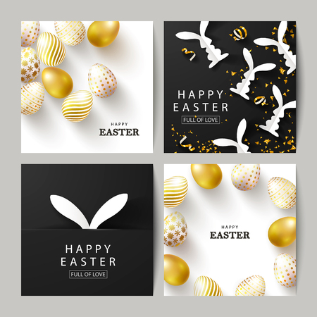 Happy Easter Set of cards.Beautiful Background with golden eggs, paper bunnies and serpentine. Vector illustration for cards,website , posters,ads, coupons, promotional material Ilustração