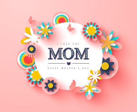 Happy Mothers day greeting card. Paper cut flowers and butterflies, holiday background. Vector illustration. Ilustração