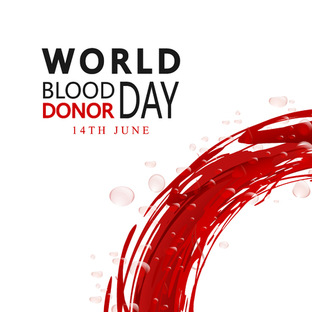 Creative Blood Donor Day motivation information donor poster. Vector illustration of Donate blood concept for World blood donor day-June 14. Medical design elements.Flyer with Red Drops