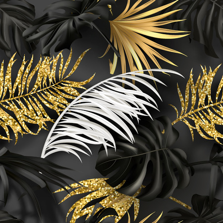 Seamless summer pattern with white, black and golden tropical plants.Modern abstract design for paper, wallpaper, cover, fabric and other users. Vector illustration. Stock Illustratie
