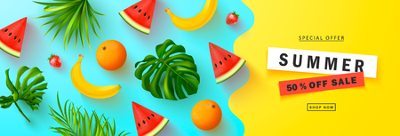 Summer Sale banner.Beautiful Background with banana,strawberry,orange,watermelon and tropical leaves. Vector illustration for website , posters,ads, coupons, promotional material.