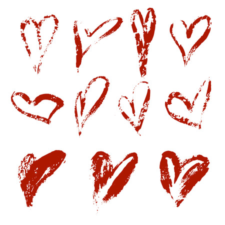 Hand drawn vector heart set with different tools like brushes, chalk, ink