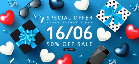Happy Father's day Sale banner.Background with gift boxes,sunglasses,hearts,smartphone and streamers.Vector illustration. Imagens - 122551904
