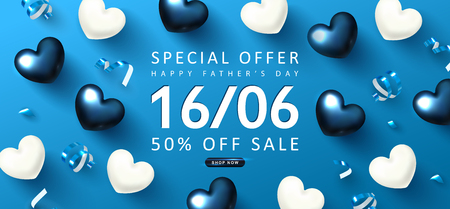 Happy Father's day Sale banner.Background with gift hearts and streamers.Vector illustration.