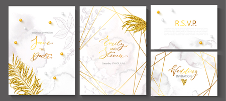 Wedding invitation cards with watercolor texture,beads,hand-drawn flowers and plants,geometric shapes and Golden sequins.Vector illustration.