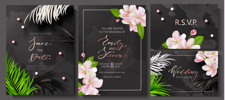 Wedding invitation cards with marble texture,beads, tropical flowers and plants.Vector illustration.