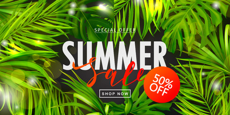 Summer Sale banner.Beautiful Background with tropical leaves. Vector illustration for website , posters,ads, coupons, promotional material.