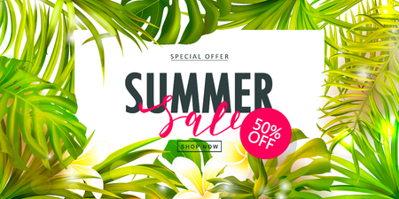 Summer Sale banner.Beautiful Background with tropical flowers and leaves. Vector illustration for website , posters,ads, coupons, promotional material.