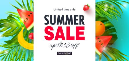 Summer Sale banner.Beautiful Background with tropical leaves, watermelon,orange,banana and strawberry. Vector illustration for website , posters,ads, coupons, promotional material.