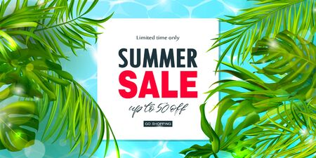 Summer Sale banner.Beautiful Background with tropical leaves and shiny blue water. Vector illustration for website , posters,ads, coupons, promotional material.