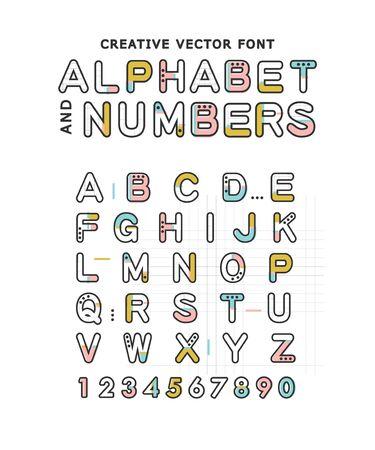 Fuente de vector creativo. Alfabeto y números Estilo moderno. Ilustración de vector