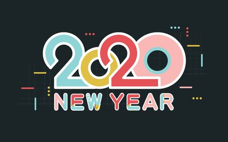 Happy New Year 2020 number and text. Modern Design for greeting poster and cards, calendars, banners, site, business card, covers. Isolated vector illustration.