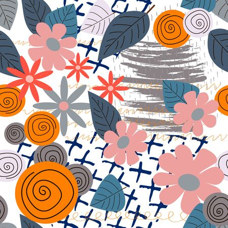 Seamless pattern with abstract flowers. Creative floral surface design. Vector background